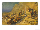During the Exodus Moses Strikes a Rock and Obtains a Supply of Water for the Israelites Giclee Print by Robert Leinweber