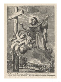 San Pedro di Alcantara Spanish Mystic and Franciscan Friar is Levitated to a Crucifix Giclee Print by De Rochas