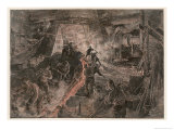 Ironworks at Birmingham, Tapping a Furnace and Running the Molten Metal into Pigs Giclee Print by Henri Lanos