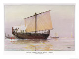 Phoenician Trading Vessel Arrives at Pharos Giclee Print by Albert Sebille