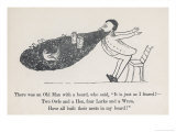 The Old Man Whose Beard is Used as a Nesting Ground for Owls Hens Larks and Wrens Giclée-Druck von Edward Lear