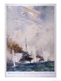 British Cruisers are Attacked by German Aircraft Giclee Print by E.s. Hodgson