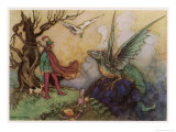 Avenant Confronts a Fearsome Dragon Giclee Print by Warwick Goble