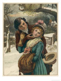 Seizing an Opportunity Passing Under a Mistletoe Branch While Walking in the Snow Giclee Print by William Small