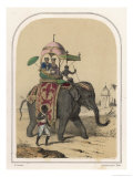 Riding an Indian Elephant in a Howdah Giclee Print by Louis Lassalle