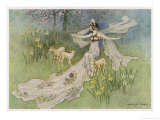 The Fairy Coquette, with Three Wolves Which She Has Just Transformed into Lambs Giclee Print by Warwick Goble
