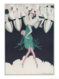 Flapper in a Green Dress Dances in Front of a Group of Men in Evening Dress Giclee Print by Andree Sikorska