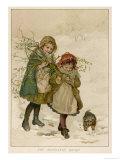 Two Girls and Their Dog Gather Mistletoe in the Snow Gicléedruk van  Lizzie