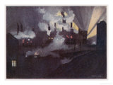 Factories at Brightside Sheffield Giclee Print by Gordon Home