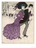 Smart Couple in a Roller- Skating Hall Giclee Print by N. Nielsen