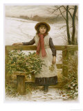 Girl Stands at a Stile with a Load of Holly and a Sprig of Mistletoe Giclee Print by H.j. Johnstone