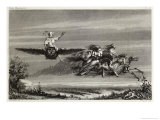 Witches Fly to the Sabbat Mounted on Owls Horses Living or Horses Skeletal Giclee Print by Seigneurgens