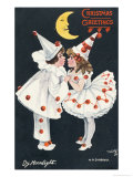 By Moonlight, Boy and Girl in Pierrot Costume Look at Each Other and Like What They See Lmina gicle por H.d. Sandford