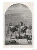 Gladiators in Combat Wearing Helmets and Using Shields Giclee Print by J. Roxe