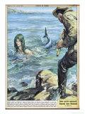 At Bocca di Magra Italy Fisherman Colmaro Orsino of Genova Sees a Mermaid Premium Giclée-tryk af Walter Molini