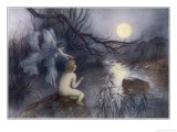 Tom Sits Upon a Rock Watching the Moonlight on the Rippling River Giclee Print by Warwick Goble