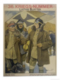 German Aviators at an Airfield Discuss Their Flight Over Calais Giclee Print by Ernst Heilemann