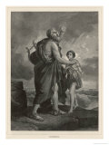 Homer the Blind Greek Poet is Guided on His Travels by a Young Boy Giclee Print by  Massard