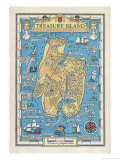 Mapa de Treasure Isla Lámina giclée por Monro S. Orr