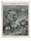 Professor Beebe in His Bathysphere 1000 Metres Below the Surface of the Atlantic Ocean Giclee Print by Aldo Molinari