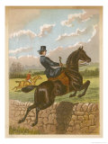 Lady Jumping a Wall Side Saddle on a Brown Horse Premium Giclee Print by C.b. Herberte