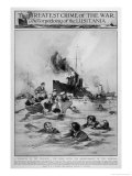 Survivors in the Water after the Torpedoed Liner Goes Down Giclee Print by E.s. Hodgson