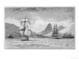 "Hms ""Beagle"" the Ship in Which Charles Darwin Sailed Approaching Mauritius Giclee Print by R.t. Pritchett"
