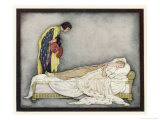 The Prince Looks Down on Sleeping Beauty Wondering How to Wake Her Giclee Print by Jennie Harbour