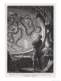Hildebrand - 20,000 Leagues Under the Sea: Giant Squid Seen from the Safety of the Nautilus - Giclee Baskı