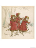 Three Girls Set off to Go Skating Giclee Print by Kate Greenaway