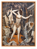 Scantily-Clad Young Woman Can't Decide What to Wear Giclee Print by M. Schwarzer