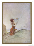 While a Girl is Playing with Fairies One of Them Perches on Her Finger Giclee Print by Claude Sheperson