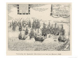 "Spanish ""Silver Fleet"" is Captured by Dutch Admiral Pieter Heyn in the Bay of Matanza Cuba Giclee Print by Josse Hondius"