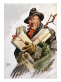 Man with an Armful of Gifts Giclee Print by Thornton D. Skidmore