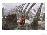 Richelieu Besieges la Rochelle Giclée-tryk af Henri Motte