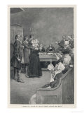 Witch Trial in Massachusetts, The Accusing Girls Point at the Victim Giclee-vedos tekijn Howard Pyle