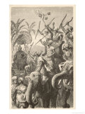 Porus Musters His War Elephants in Preparation for War with Alexander the Great of Macedon Giclee Print by H. Leutmann