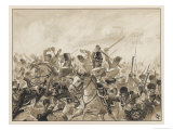 The Scots Greys and the 92nd Regiment in Action Giclee Print by J. Marshman