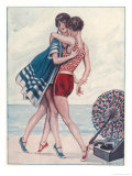 Two Midinettes Dance on the Sand to the Jazz-Music of Their Portable Gramophone Giclee Print by G. Pavis