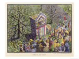 Watching a Punch and Judy Show in a Park Giclee Print by R.a. Jarvis