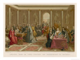 He Explains His Ideas to the Scholarly Queen Christina of Sweden Giclee Print by Nordmann