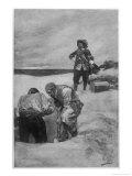 Captain Kidd Burying Treasure on Gardiners Island Giclee Print by Howard Pyle