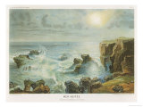 Misty Sun Above an Agitated Sea Crashing up Against a Rocky Coast Giclee Print by Gudin