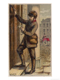 London Postman Knocks at a Door Giclee Print by H.w. Petherick