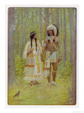 Hiawatha with His Bride Minnehaha Walking Hand in Hand Giclee Print by M. L. Kirk