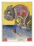 Terrified by German U-Boats the English Pretend to be Neutral Giclee Print by Franz Juttner