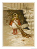 Little Girl Sweeps the Snow by the Steps Watched by a Robin Giclee Print by Lizzie Lawson