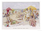 Beach Scene at the French Resort of Deauville Premium Giclee Print by J. Simont