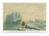 Ship in the Antarctic is Dwarfed by Icebergs Giclee Print by Ernst Heyn