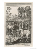 Farmers Appraising Horses and Cattle Giclee Print by Michael van der Gucht